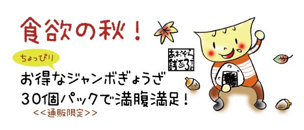 食欲の秋にお得なジャンボ餃子30個パック